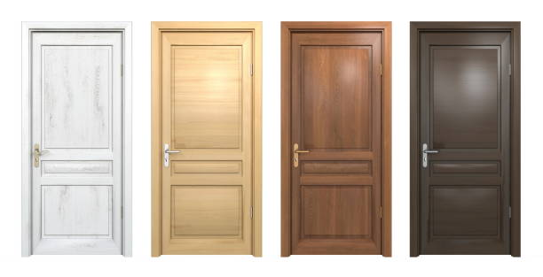 collection of different wooden doors isolated on white - porta foto e immagini stock