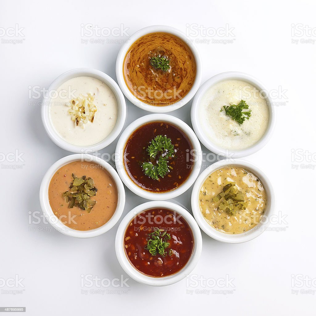 collection of dips, sauce stock photo