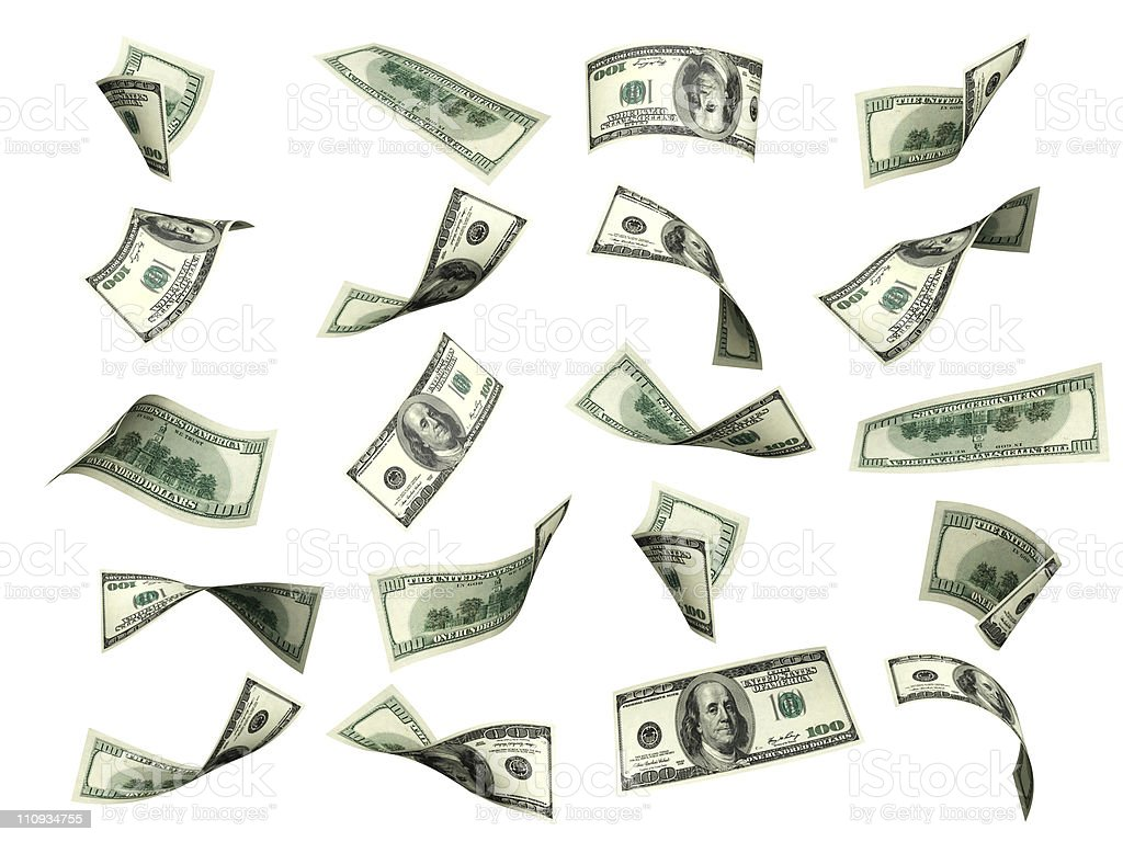 Collection of dollar banknotes stock photo