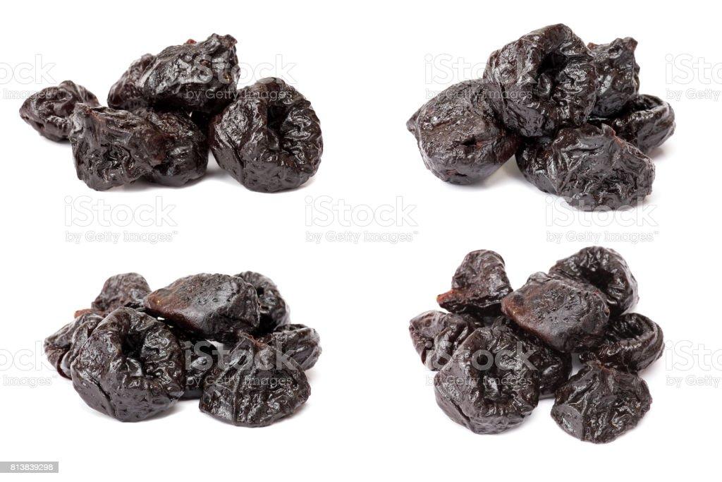 Collection de pruneaux prune -, isolé sur fond blanc. - Photo