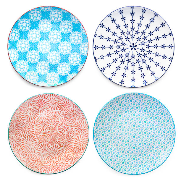 Collection of Empty Colorful Plates Top View Isolated stock photo