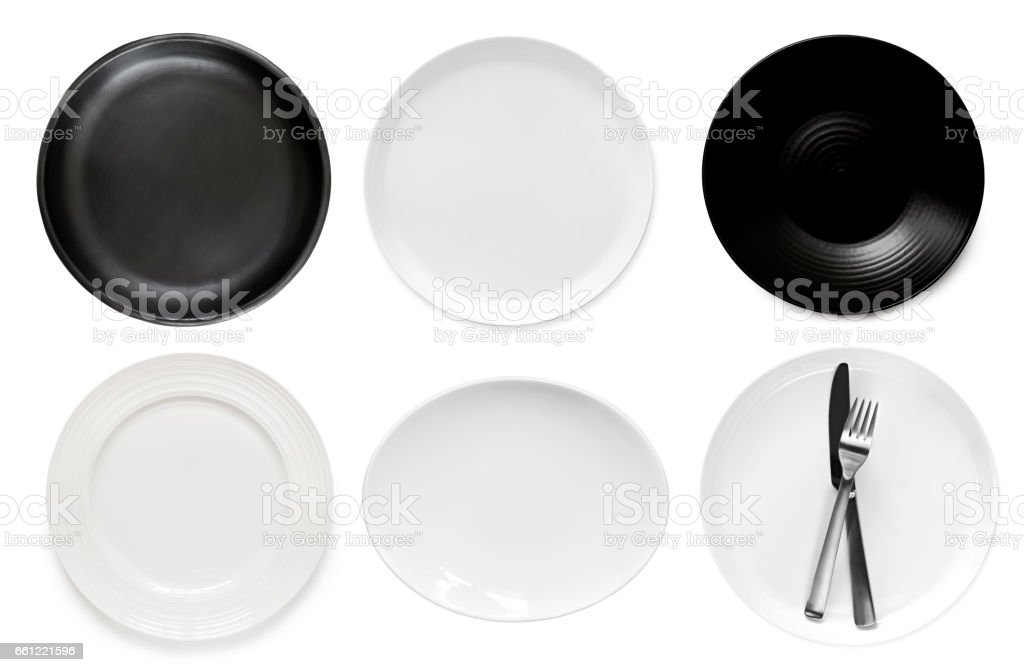 Collection of Empty Plates Top View Isolated stock photo
