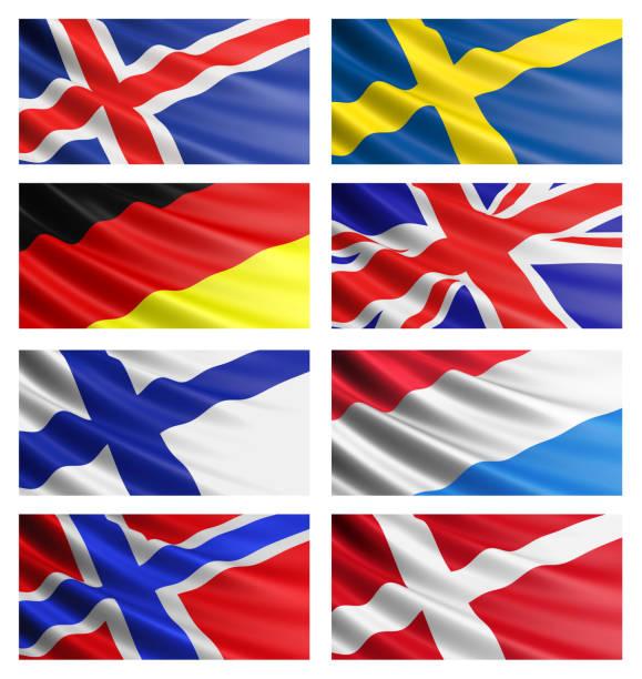 Sammlung von europäischen Flaggen. Set 1. – Foto