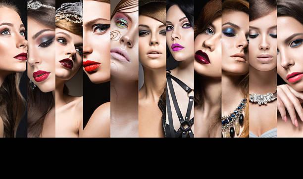 kollektion mit abend-make-up. schöne mädchen. beauty gesicht - schönen abend bilder stock-fotos und bilder