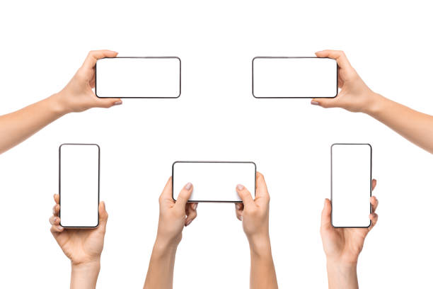 Collection of female hands holding smart phone with empty screen Collection of female hands holding smart phone with empty screen, isolated on white background. hand stock pictures, royalty-free photos & images