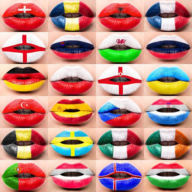 Colección de mujer con labios acercamiento imagen banderas Europa - foto de stock
