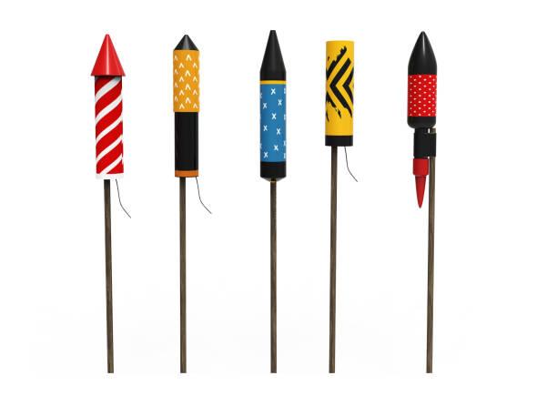 Colección de cohetes de fuegos artificiales, aislado sobre fondo blanco - foto de stock