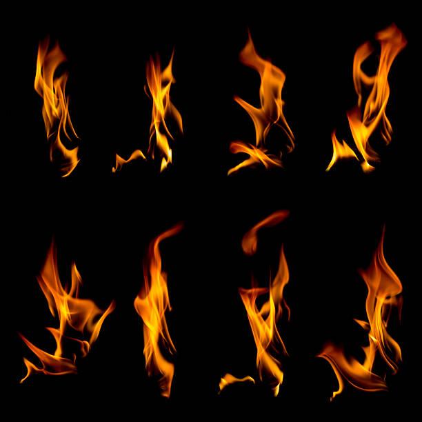 Sammlung von Flammen auf Schwarz – Foto
