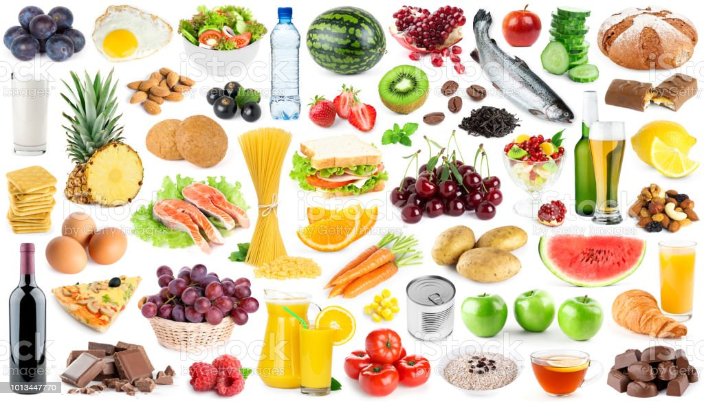 Collection of food and drink. Fruits and vegetables. Fresh food
