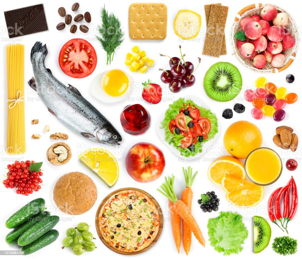 Collection of food and drink. Top view. Fruits and vegetables. Fresh...