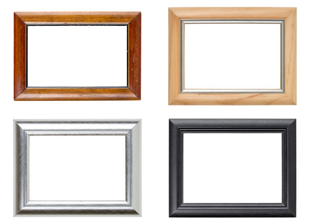 collection of four picture frames stock photo