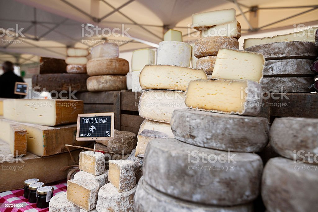Collection of French Cheese at the market in Paris stock photo
