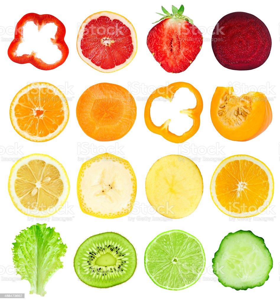 Sammlung von frischem Obst und Gemüse Scheiben – Foto