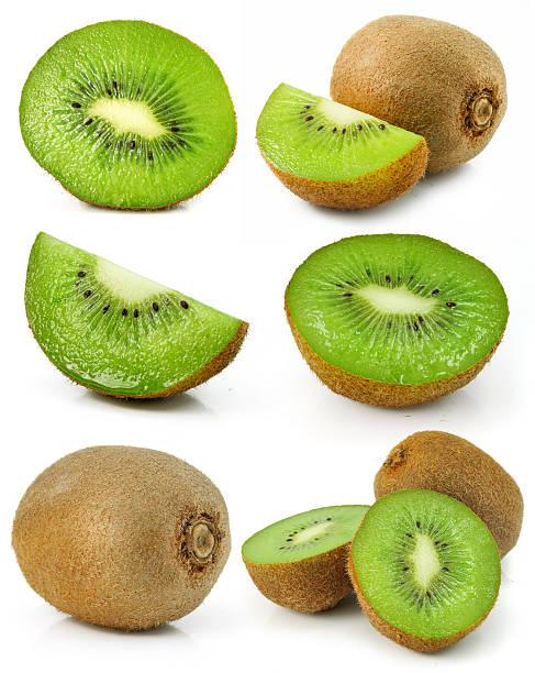 collezione di kiwi freschi frutta isolato - frutto kiwi foto e immagini stock