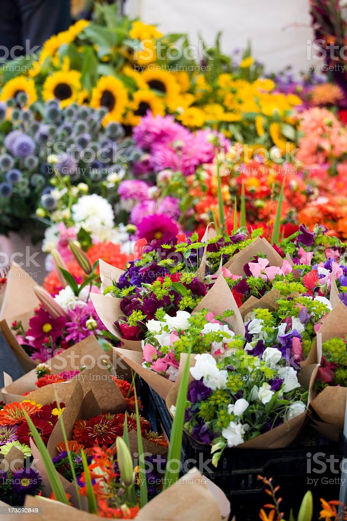 Collection of fresh outdoor flowers at a farmer's market royalty-free stock photo
