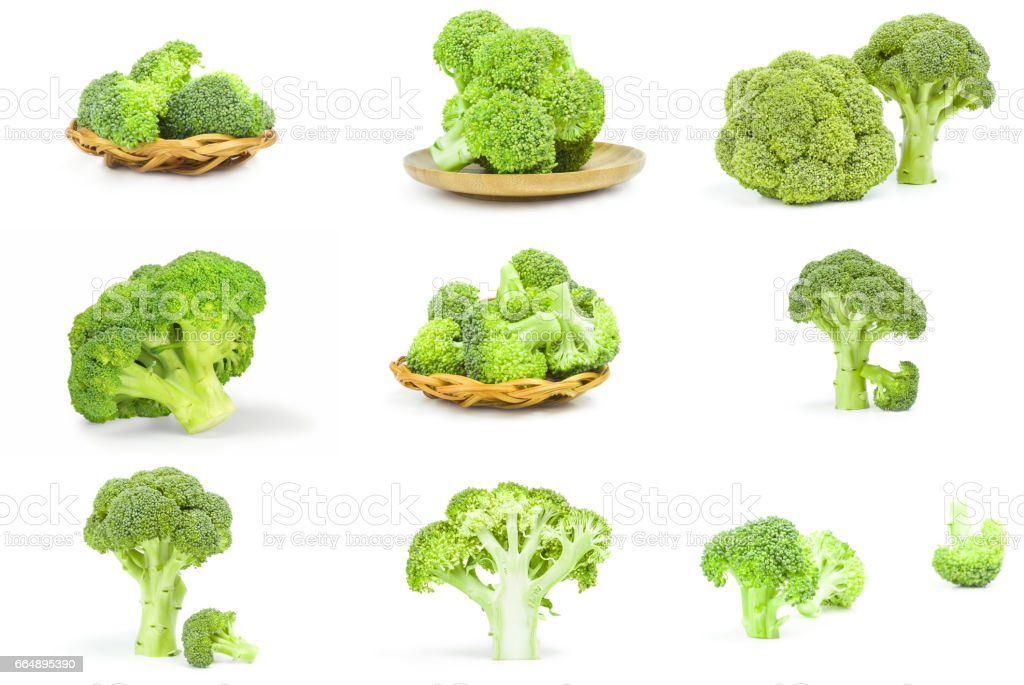 Collection of fresh raw broccoli isolated on a white background cutout foto stock royalty-free