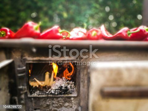 Color image depicting fresh ripe. red peppers cooking on an old-fashioned flame grill outdoors. Taken on mobile device, with room for copy space.