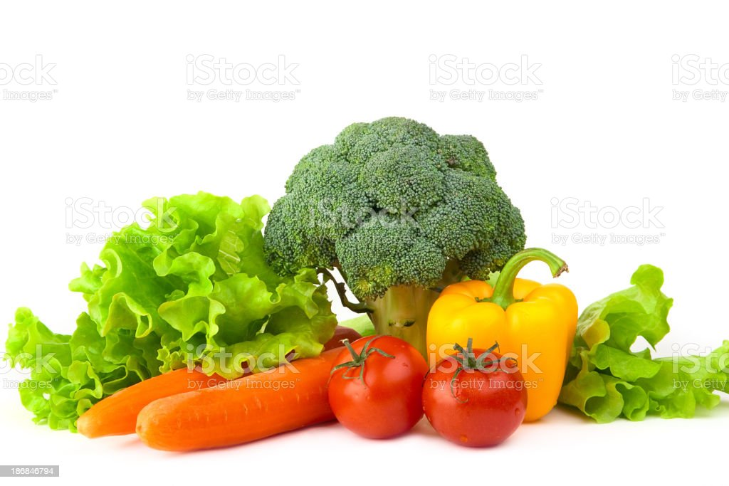Collection of fresh vegetables on a white background royalty-free stock photo