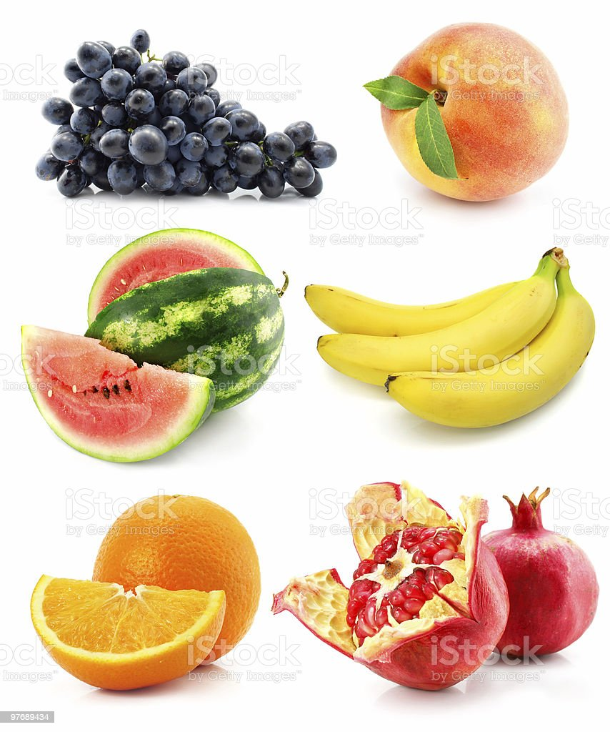 collection of fruit isolated on white royalty-free stock photo