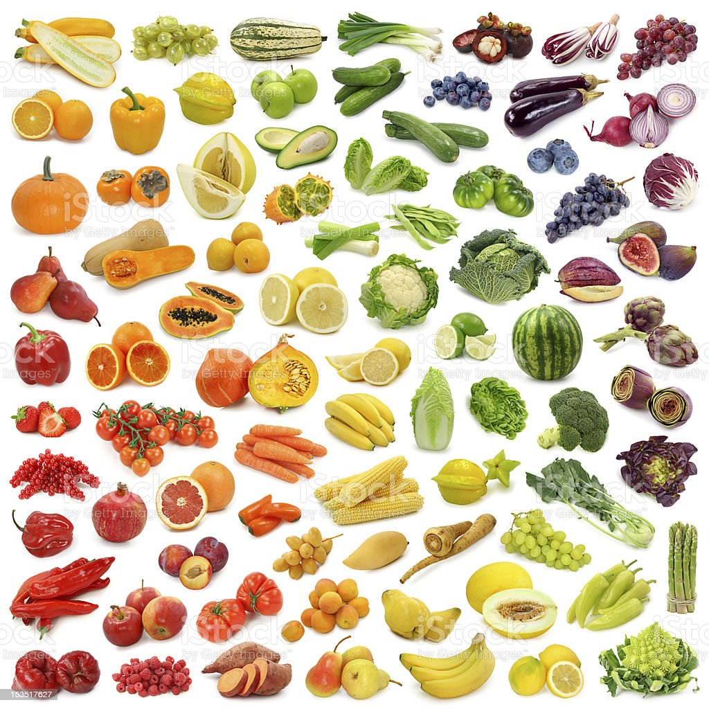 Collection of fruits and vegetables stock photo