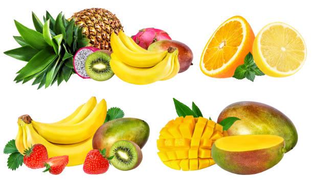Collection de fruits isolé sur blanc - Photo