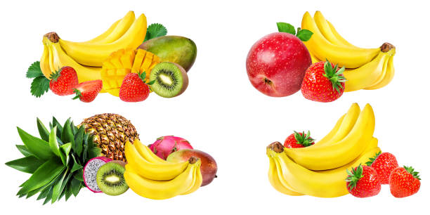 collection of fruits isolated on white - frutto tropicale foto e immagini stock