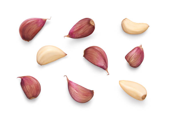 a collection of garlic cloves isolated on a white background. - aglio alliacee foto e immagini stock