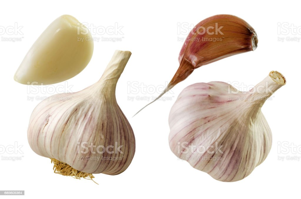 Collection of Garlic isolated on white. Clipping path stock photo