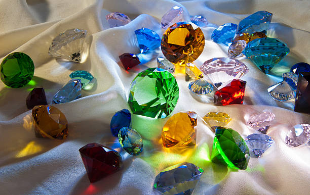 collection of glass gems - sapphire gemstone stock photos and pictures