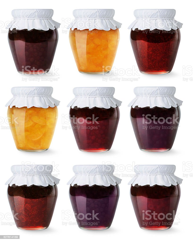 Collection of glass jars with homemade jam isolated on white stock photo