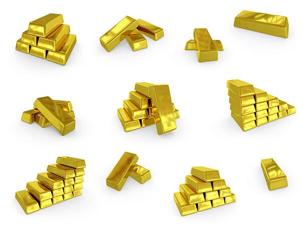 sammlung von gold ingots. - aurum stock-fotos und bilder