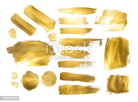 istock Collection of golden paint strokes to make  background out of 506018010