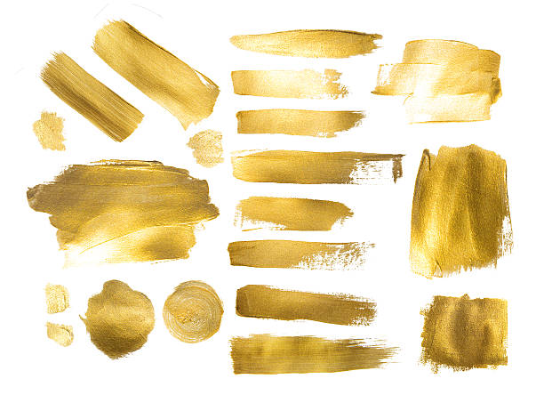Collection of golden paint strokes to make  background out of Collection of golden paint strokes to make a background for your design brush stroke stock pictures, royalty-free photos & images