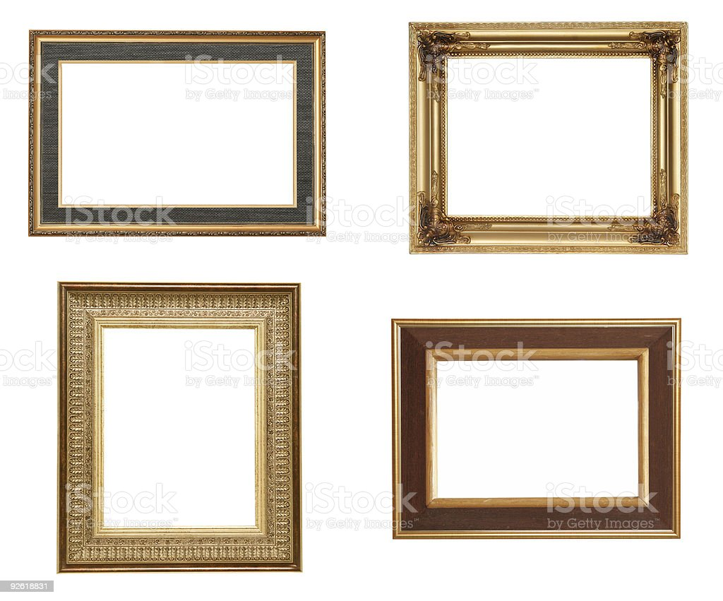 collection of golden picture frames stock photo