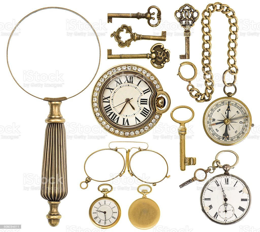 collection of golden vintage accessories, jewelry and objects stock photo