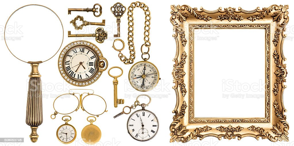 Collection of golden vintage goods frames objects stock photo