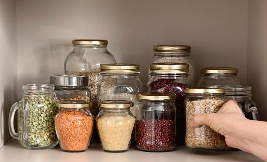 곡물 제품의 컬렉션 가정 주방에 대한 스톡 사진 및 기타 이미지