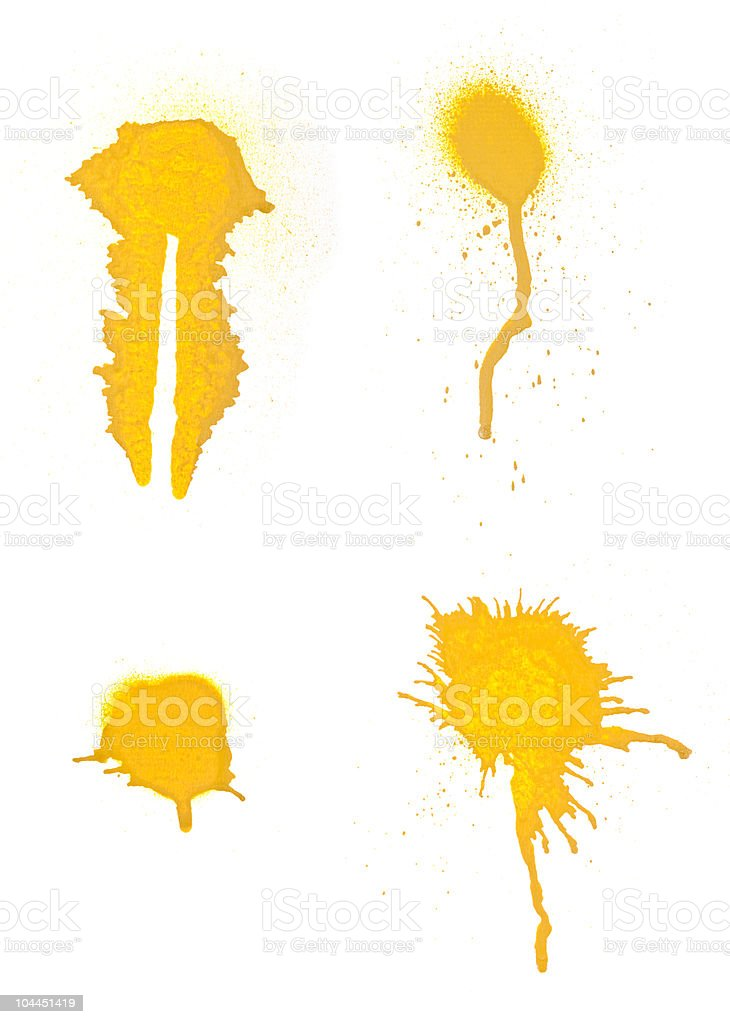 Collection of grungy spray splats. stock photo