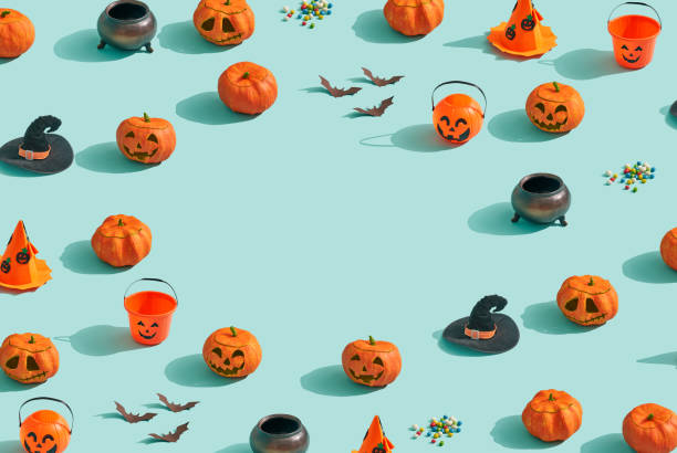 Collection of Halloween objects stock photo