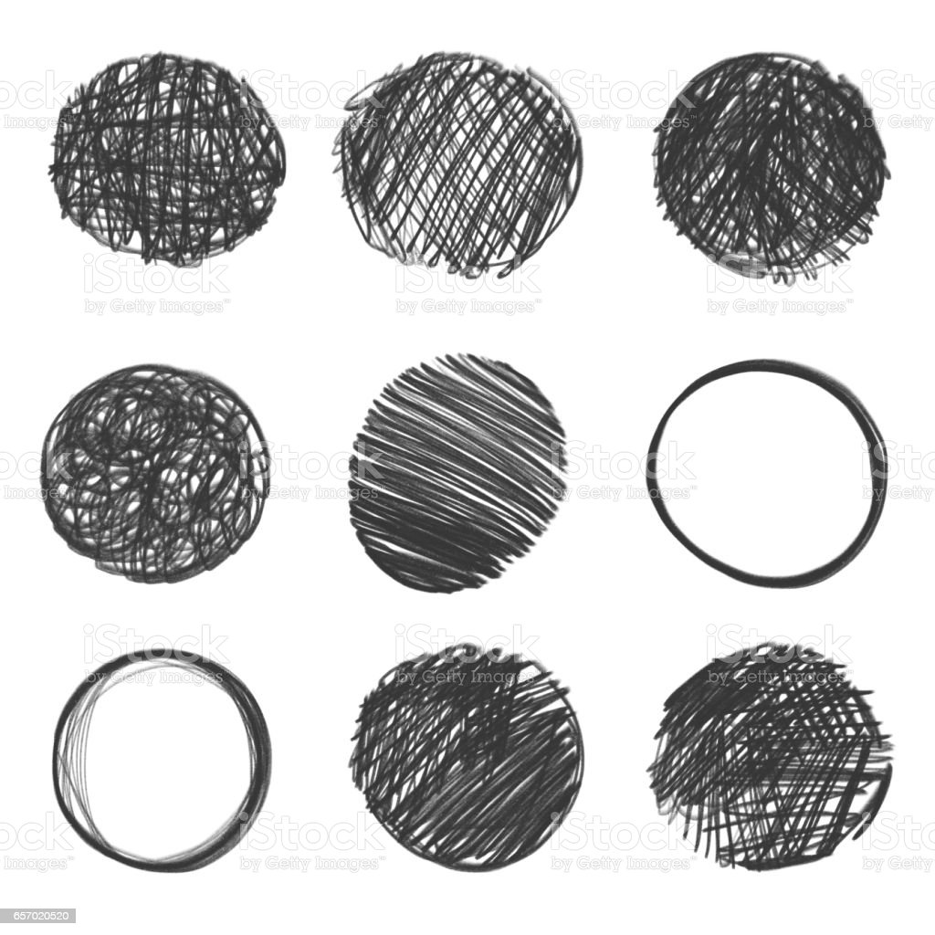 collection of hand drawn circles. stock photo