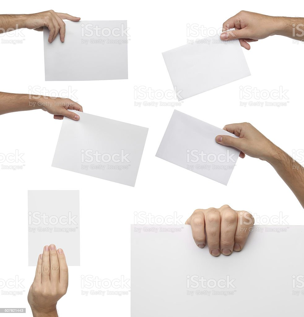 Collection of hand holding blank paper isolated stock photo