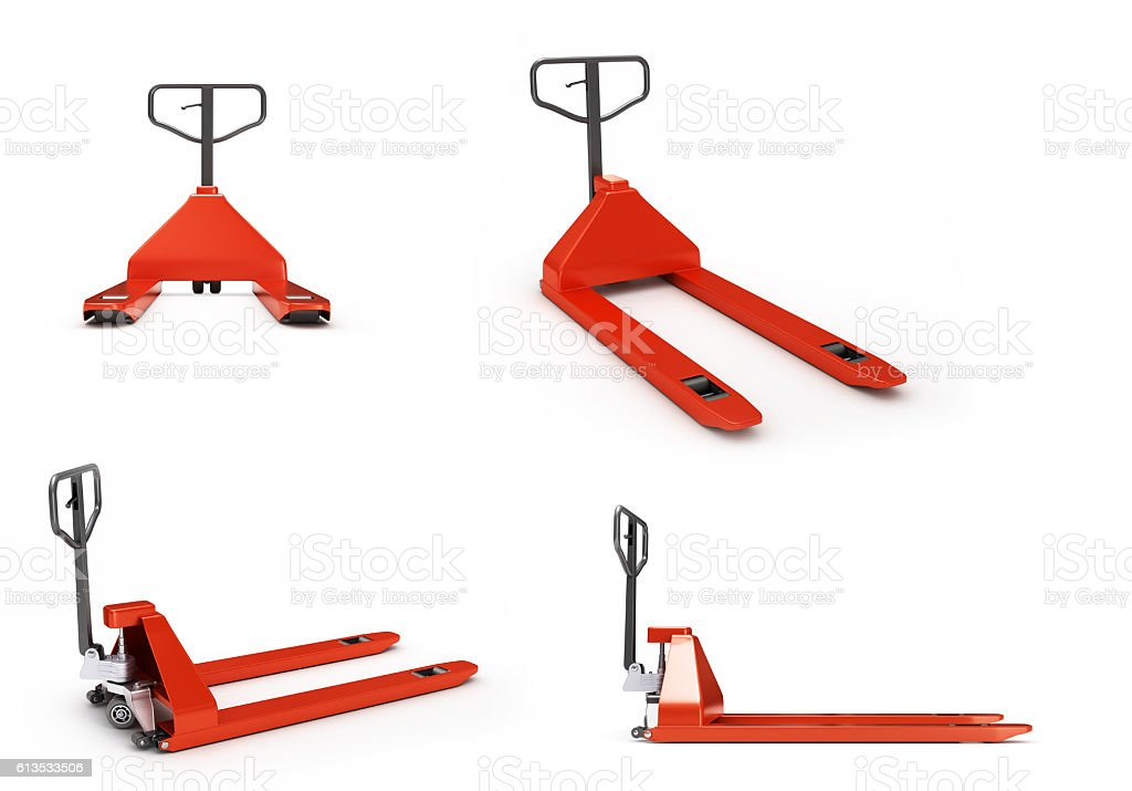 collection of Hand pallet trucks 3d render on white stock photo