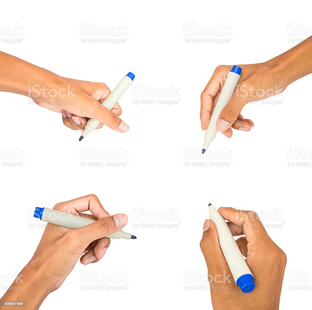 collection of hand writing on white isolated stock photo