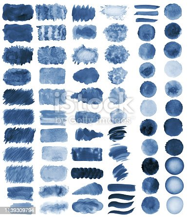 istock Collection of hand-made blue watercolor painted brushes, smears, blobs, stains, circles, stripes, stickers, spot, blots, slick, web buttons, patch backgrounds creative decorative elements Isolated 1139309794
