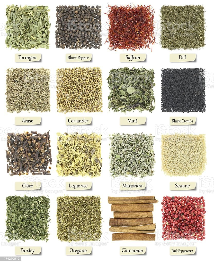 Collection of herbs and spices isolated on white royalty-free stock photo