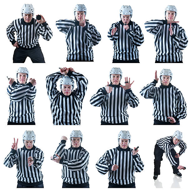 collection of hockey referees gestures - judge sports official stock photos and pictures