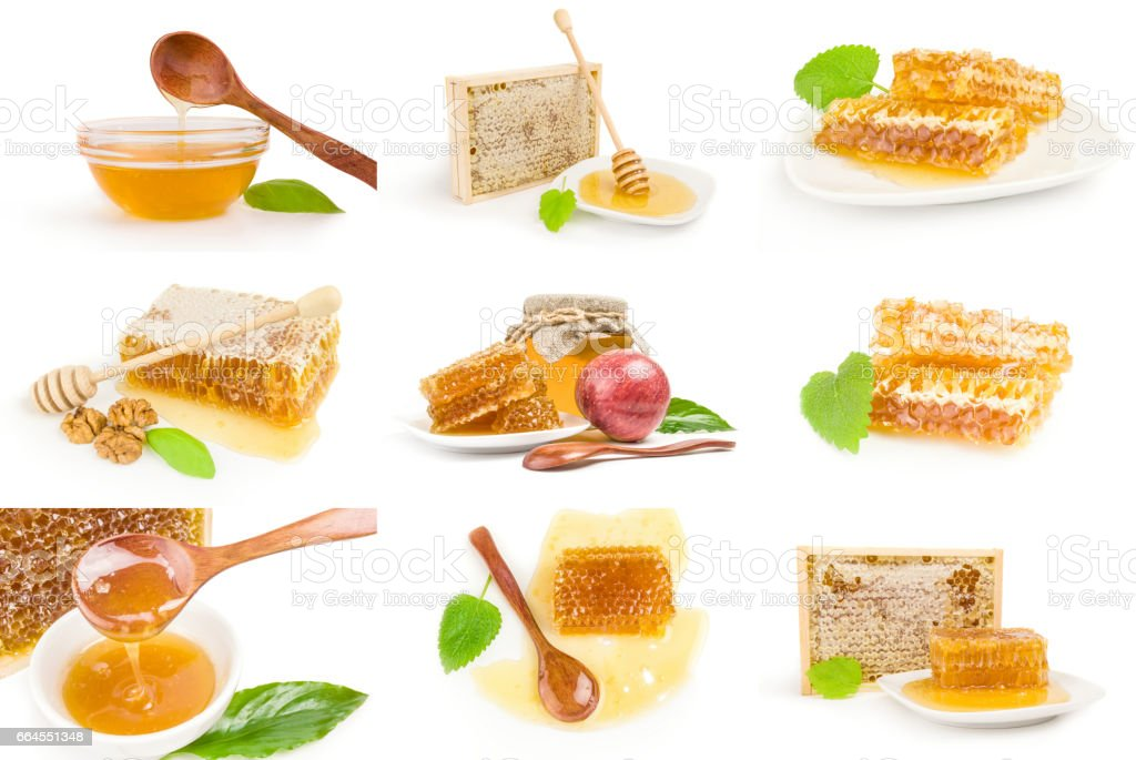 Collection of Honey isolated on a white background cutout royalty-free stock photo