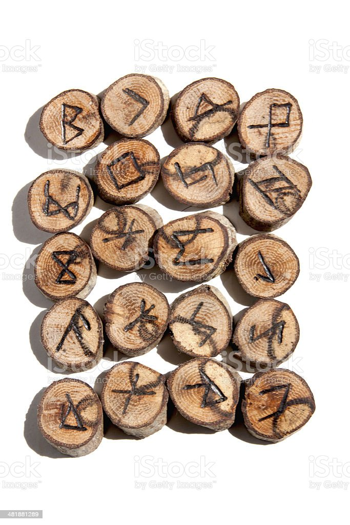 Collection of Ideographic Runes Depicting Celtic/Viking Symbols stock photo