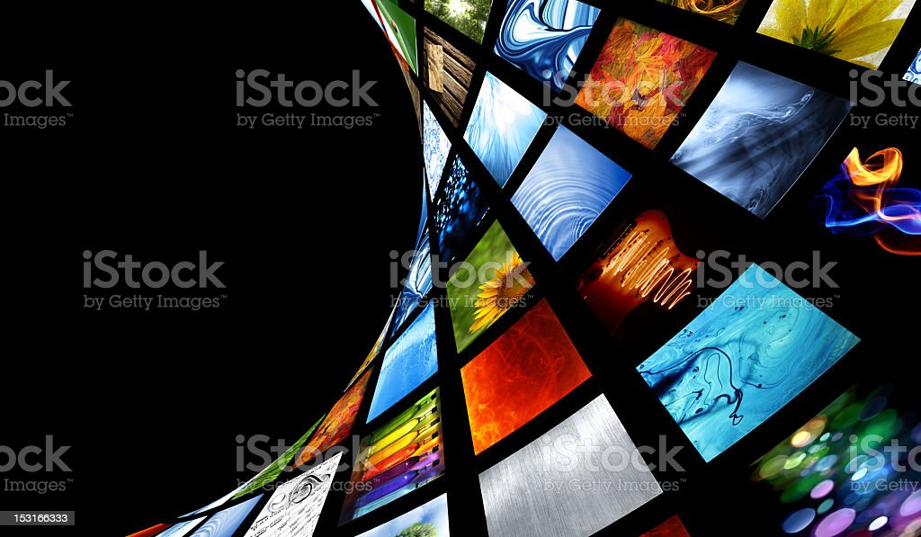 Collection of images laid out on a curvy and twisty surface stock photo