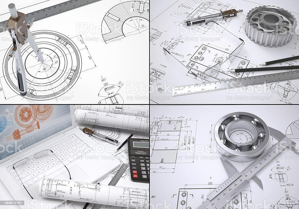 Collection of images on engineering topics stock photo